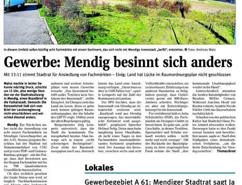 FOC Mendig – Berichterstattung der lokalen Presse