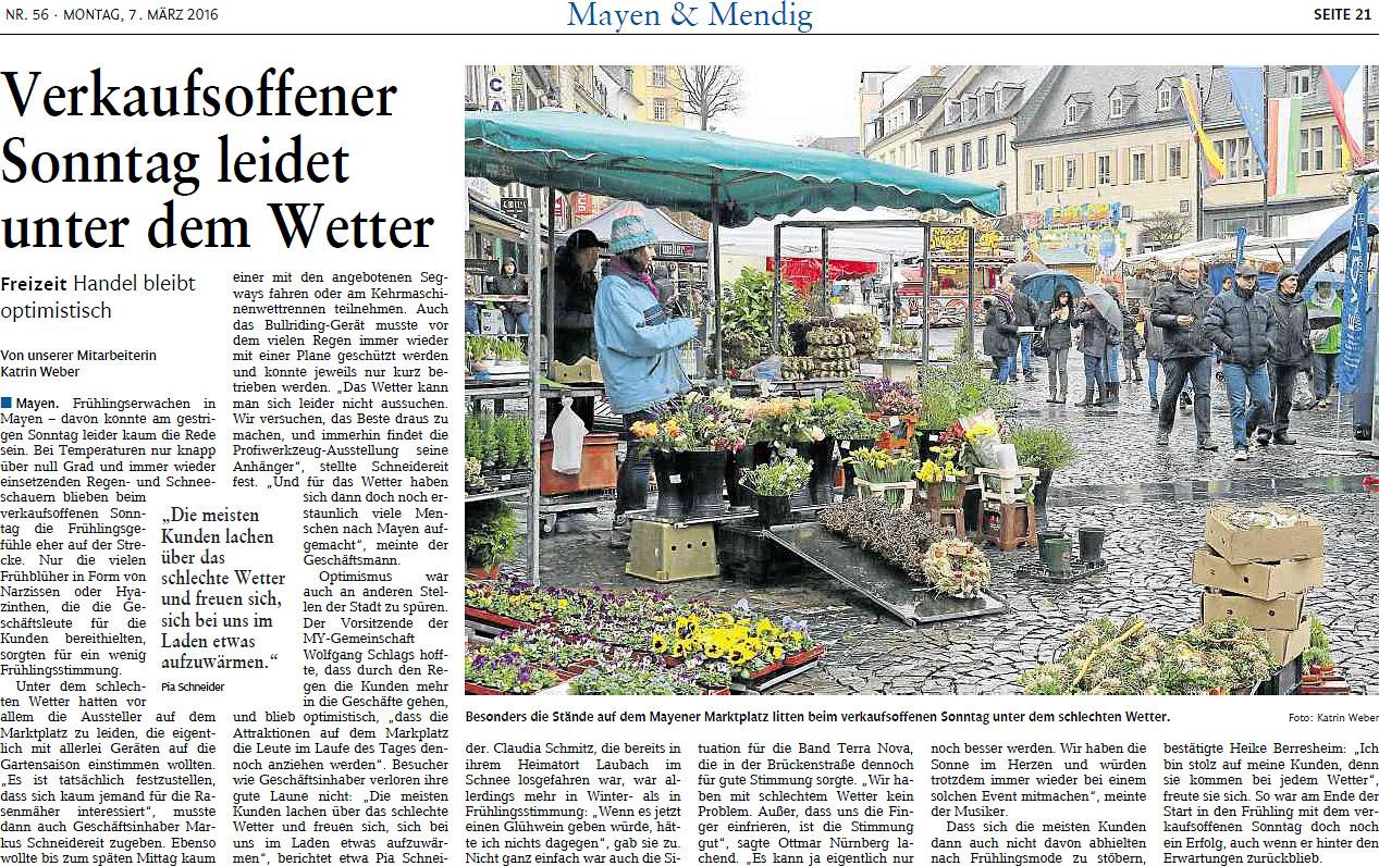 Berichterstattung Rhein-Zeitung Start in den Frühling 2016