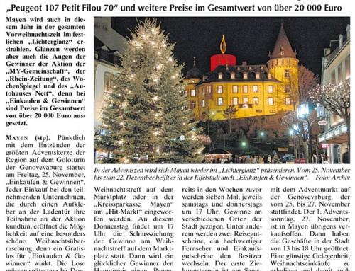 Mayen im Lichterglanz 2011 – Berichterstattung WochenSpiegel