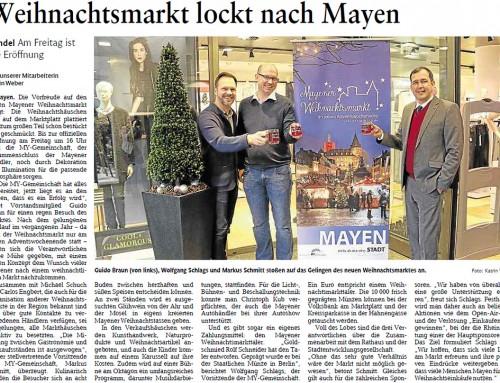 Mayener Weihnachtsmarkt 2015 – Berichterstattung Rhein-Zeitung
