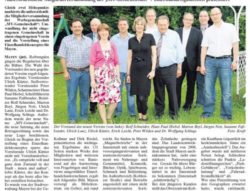 Außerordentliche Mitgliederversammlung – Berichterstattung der lokalen Presse
