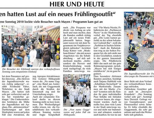 1. Verkaufsoffener Sonntag 2010 – Berichterstattung der lokalen Presse