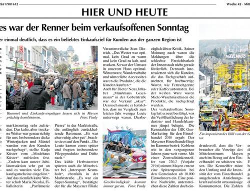 Verkausoffener Sonntag – Lukasmarkt 2010 –  Berichterstattung WochenSpiegel